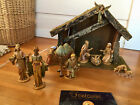 Vintage FONTANINI by Roman Nativity 1983 11 resin figures + stable booklet
