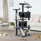Large Cat Tree Tower Cat Scratching Posts Climbing Frame with Condo/ Ladder Used
