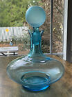 Vintage Blue Glass Decanter With Ball Stopper