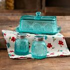 Turquoise Blue Glass Butter Dish Salt Pepper Shaker Set Pioneer Women Vintage