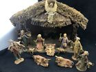 Vintage 12 Figure Nativity Set plus Wooden Creche Box Kmart Christmas