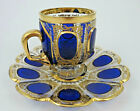 Antique Moser Glass Cup  Saucer Cabochon Panel