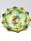 Antique RS Prussia 3 footed bowl Candy Nut dish Floral pattern Bright colors