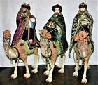 Rare Fabric Mache Nativity 3 Kings on Camels 17 Handcrafted Set in Original Box