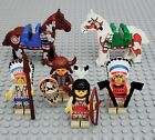 Lot Vtg LEGO Chief Native Indians Minifig Painted Ponies Horse Saddle Weapons