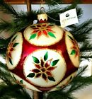Large Brushed Cranberry Ball w Poinsettias Glass Christmas Ornament Poland