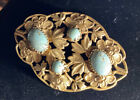 Vintage Czech Robin Egg Blue Glass Cabs  Ornate Brass Victorian Revival Brooch