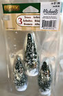 Three 4 inch Snow covered Christmas Trees Lemax Village Accessories 54971