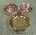 CORNING WARE VISIONS AMBER CRANBERRY GLASS CASSEROLE DISHES LID 4 PIECES