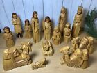 Wooden Hand Carved Christmas Nativity Scene 17 Pieces Wood 75 Tallest