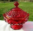 Fenton Vintage Ruby Red Amberina Hobnail Footed Scalloped Lid Candy Dish 65W