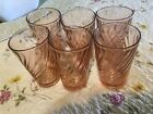 SET OF 6 VINTAGE PINK SWIRL ROSALINE 8 OZ DRINKING GLASSES FRANCE