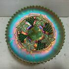 Emerald Green Northwood Grape and Cable Carnival Glass Footed Plate