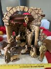 Vintage ANRI KUOLT Hand Carved Wooden Nativity Set Rare 15 Pieces WITH JESUS