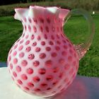 Fenton for LG Wright Cranberry Opalescent Honeycomb Coin Dot Milk Pitcher 65H