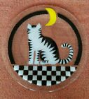Peggy Karr LG Fused Art Glass Cat Under Crescent Moon Plate 1375 inch platter