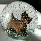 1990 GIBSON ART GLASS SULPHIDE DOG TERRIER SCOTTY PAPERWEIGHT BUBBLES SIGNED