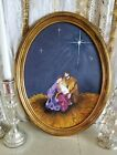 nativity oil painting Vtg baby Jesus Mary Joseph religious picture Oval frame