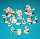 Sixteen 16 Piece Atlantic Mold Vintage White Ceramic Gold Trimmed Nativity Set