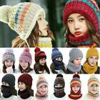 Womens Ladies Winter Wooly Thick Knited Hat Scarf Gloves Set Knit Woollen Gifts