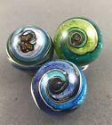 handmade art glass marbles Lot Of 3 Blue Wave Less Than 1 Made W silver Foil