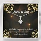 Mother in Law Necklace Funny Mother in Law Message Eternity Ribbon Stone Pendant
