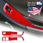 2PCS Red Window Control Switch Cover Sticker Carbon Fiber For Camaro 2010 2011