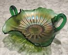 Carnival Glass Fenton Stippled Rays Green Double Handle Candy Dish c 1907 30