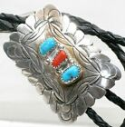Mens Western Bolo Tie Stamped Sterling Silver Turquoise  Coral Native American