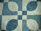4 1 2 Yards Quilt Like Blue  White Ovals  Squares Cotton Fabric 44 Wide