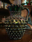 Authentic Fenton Purple Amethyst Iridescent Carnival Glass Hobnail Pitcher