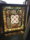Sg 3392 jeweled stained Beveled Glass Landing Window 3525 x 39H