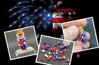 Red White  Blue Glass Micro Marbles Worlds Smallest Handmade Miniature Marbles