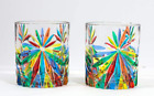 Starburst High Ball Glasses Set of 2 Hand Painted Italian Crystal