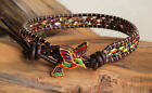 Hummingbird Colorful Leather Wrap Bracelet Beaded Duo Beads on Leather Yevga