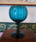 Empoli Empoli Style Art Glass Goblet Vase Twisted Stem Aqua Blue
