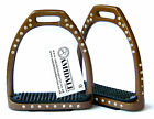 ALUMINUM LIGHTWEIGHT STIRRUPS HORSE RIDING 54 CRYSTALS DIAMANTE IN BROWN COLOUR