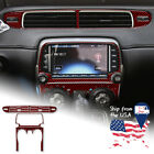 Dark Red Air Conditioning Switch Panel Cover Trim Sticker For Camaro 2013 2015