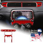 Red Air Conditioning Panel Cover Sticker Carbon Fiber For Camaro 2013 2015