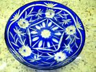 COBALT BLUE CUT TO CLEAR GLASS SHALLOW BOWL DISH