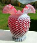 Fenton Glass Cranberry Opalescent Hobnail Spiral Optic Vase 6H x 55W 1998