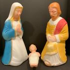 Vintage Poloron 17 inch 3 PcNativity Blow Mold Joseph Mary Jesus Lighted