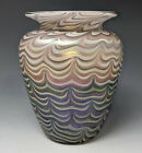 Vtg VANDERMARK STUDIO Iridescent Art Glass Flared Vase Wavy Pulled Stripes 1976