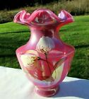 Fenton Raspberry Plum Carnival Opalescent Glass HP Tulips on Vase 75H Rare