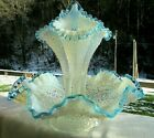 Fenton 40 50s French Opalescent Aqua Crest Diamond Lace 3 Horn Epergne 12Wx11H