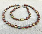 CLOISONNE Flower Red Clay Pastel Pipestone BEADS Beaded Heavy Necklace Vintage