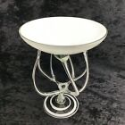 Jozefina Krosno Glass Compote Octopus Jellyfish White Swirl Tall and Wide