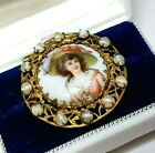 Antique Hand Painted Porcelain Pink Cameo Lady Brooch Czech Givre Glass Cabochon