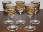 SET OF 5 STEVEN MASLACH EARTH ART GLASS WINE GOBLETS SIGNED  DATED 12 79 MINT