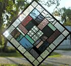 QUILT JOY 12 1 2 x 12 1 2 REAL stained glass window panel hangs 2 ways